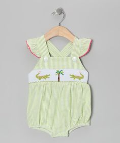 Take a look at this Green Alligator Smocked Bubble Bodysuit - Infant & Toddler by Sweet Teas Children's Boutique on #zulily today!
