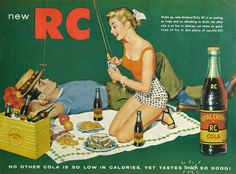 1955 Royal Crown RC Cola Advertising - Happy Couple - Fly Fishing Pole, Hat…   ...Please save this pin.  Because for vintage collectibles - Click on the following link!.. http://www.ebay.com/usr/prestige_online