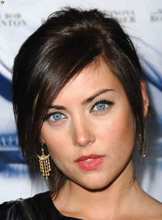 Jessica Stroup's chic updo works perfectly on straight, layered hair with long, sideswept bangs.