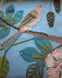 cool design idea - embroidering over fabric