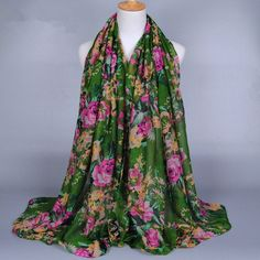 New design ladies printed flower viscose cotton voile long Muffler shawls head muslim hijab winter wrap cape scarves Cape Scarf, Long Scarf, Headband Wrap, Muslim Hijab, Long Vests, Floral Scarf, Women Accessories, Accessories Online, Scarves
