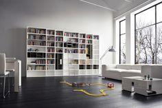 biblioteca estilo minimalista color blanco