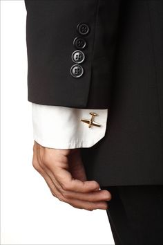 Men's Cufflinks: Handmade Airplane Cuff Links, Golden Airplane