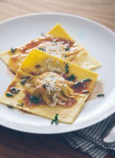 Butternut squash & swiss chard ravioli with sage brown butter sauce. #yummy