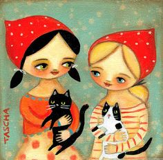 Girls with cats - tascha painting on etsy