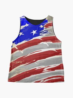 Alternate view of Worn Torn and Distressed American Flag Shabby Chic Design Sleeveless Top Blouses For Women, Women's Blouses, Pretty Shirts, Stripes Fashion, Striped Dress, American Flag, Fashion Accessories, Shabby Chic, Stars