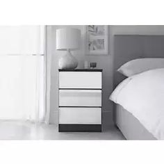 Buy Argos Home Sandon 3 Drawer Bedside Table - Black & Mirrored | Bedside tables | Argos