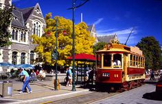 Christchurch, New Zealand  See these yellow hooks on tram?  That is where they hang buggies.