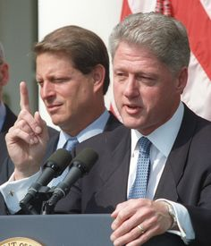 Former President Bill Clinton (and then-Vice President Al Gore) in 1996, the year Clinton signed the Defense of Marriage Act.