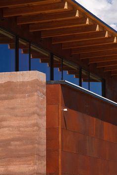 "Sublette County Library Addition, Pinedale, Wyoming ""This library is the first public building in the country to employ insulated rammed-earth walls for maximum energy efficiency in an extreme high-altitude climate.  Rammed earth was selected because of its thermal qualities, local use of material and for its tactile quality."" Carney Logan Burke Architects"