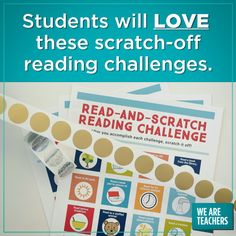 Get Students Excited About Reading With These Clever Scratch-Off Printables. These free printable reading challenges use scratch-off stickers to engage and motivate kids. Perfect for summer break or reading week! Motivation For Kids, Reading Motivation, Student Motivation, Library Activities, Classroom Activities, Teaching Activities, Reading Strategies, Reading Skills, Reading Incentives