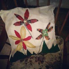 Customised an old cushion. Flower power!!