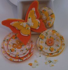 Vintage Upcycled fabric and felt butterfly and flower embellishments -