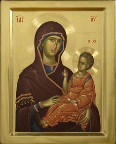Hodigitria icon with the first part of the Megalynarion in Greek. Byzantine Icons, Byzantine Art, Religious Icons, Religious Art, Our Lady Of Rosary, Holding Baby, Madonna And Child, Blessed Virgin Mary, I Icon