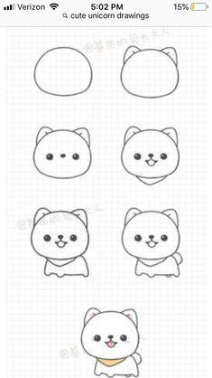 Pin by Edakurt on Zeichnungen in 2020 Cute Cartoon Drawings, Cute Easy Drawings, Cute Kawaii Drawings, Cute Animal Drawings, Kawaii Art, Doodle Drawings, Pencil Art Drawings, Art Sketches, Drawing Drawing