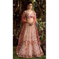 9d40afa97c06b1 Pink malai satin heavy embroidered bridal lehenga