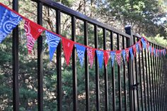 Extra long Mini Blue & Red Bandana Banner Bunting by GiddyGumdrops, $35.00