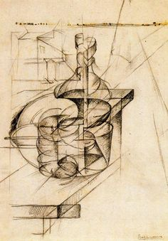 Boccioni, Umberto (1882-1916), Table+Bottle+House, 1912, Pencil