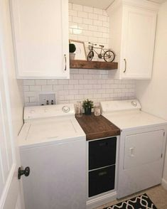 37 Beautiful Small Laundry Room Makeover Ideas - Its one of the most used rooms in the house but it never gets a makeover. What room is it? The laundry room. Almost every home has a laundry room and . Small Laundry Rooms, Laundry Room Organization, Laundry Storage, Laundry Room Design, Organization Ideas, Laundry Decor, Laundry Room With Sink, Laundry Room Shelves, Bathroom Storage