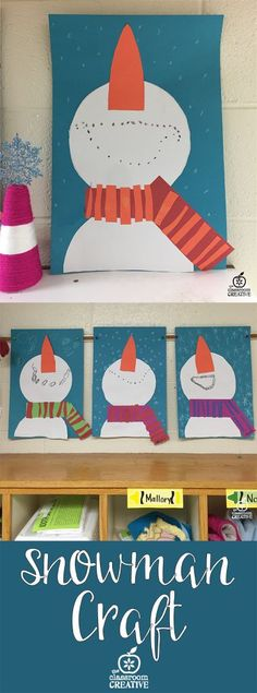 A sweet snowman craft for kids this winter! I love this process art for winter unit with kindergarten and first grade kids! Would make a gorgeous bulletin board! #winterart #snowmanart