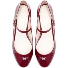 Zara Red Mary Jane Flats With Small Block Heel