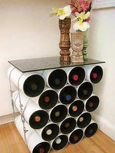 diy modern wine rack end table made from a drainage pipe