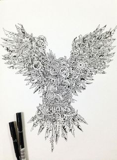 Steampunk inspired drawing of an owl.   Amazing work!
