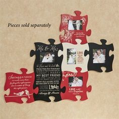 Love and Marriage Photo Frame Puzzle Piece Wall Art