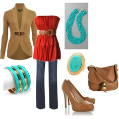 Turquoise and orange!   --- top and jacket
