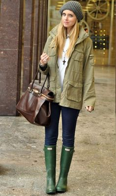 Rainy Day-love the army jacket with the green boots