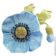 Броши ручной работы. Ярмарка Мастеров - ручная работа вязаная брошь-цветок Голубой мак. голубые цветы. голубой. ярко-голубой. Handmade.