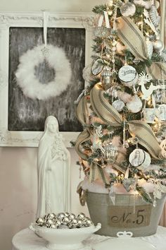 Shabby Sweet Cottage: A Little Christmas Here and There ...Burlap garland, white ornaments. Love the No. 5 container, too!