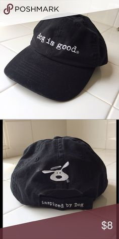 "Childs black ""dog is good"" adjustable baseball hat Childs black ""dog is good"" adjustable baseball hat. 100% cotton dog is good Accessories Hats"