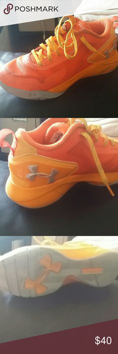 Youth Under Armour Sneakers Orange and Gray Only worn twice Youth 5.5 and fits about a size 7 or 7.5 in women.....Excellent condition....Unfortunately I don't have the box....OFFERS WELCOMED Under Armour Shoes Sneakers
