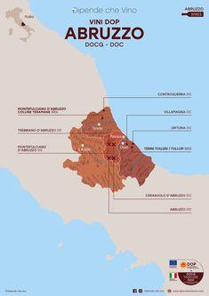 Tutti i vini DOP (DOCG e DOC) dell'Abruzzo, localizzati sulla carta regionale. Al link le informazioni sulle tipologie e sugli uvaggi.  Italian Wine Region Abruzzo Wine Facts, Wine News, Wine Drinks, Beverages, Italy Map, Wine Cheese, Italian Wine, Fine Wine, Wine Recipes