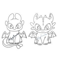 Toothless and light fury How to train your dragon DIGITAL clipart + Coloring dragons(line art). Family Coloring Pages, Animal Coloring Pages, Coloring For Kids, Dragons 3, Cute Dragons, Easy Dragon Drawings, Easy Drawings, Drawings To Trace, Dragon Line