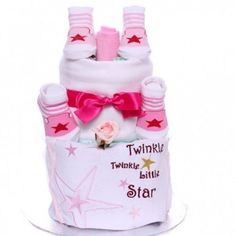 Twinkle Twinkle nappy cake, 2 tier nappy cake baby girl, new baby girl gift idea Baby Girl Cakes, Baby Girl Gifts, Cake Baby, Two Tier Cake, Nappy Cakes, Gift Cake, Twinkle Twinkle Little Star, New Baby Girls, Star Designs