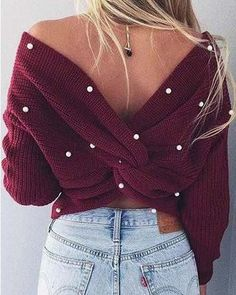 Feb 2020 - Venice Pearl Sweater in Merlot, Boho Cozy Sweaters from Spool Cool Summer Outfits, Girly Outfits, Stylish Outfits, Spring Fashion Casual, Boho Fashion, Womens Fashion, Cozy Sweaters, Looks Cool, Sweater Outfits