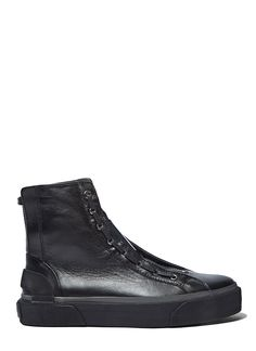 LANVIN Men'S High-Top Lace-Up Leather Sneakers In Black. #lanvin #shoes #