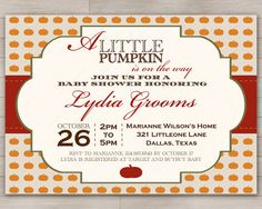 Little Pumpkin Baby Shower Invitation for Boy or Girl Autumn Event -- Works for Couples Shower too