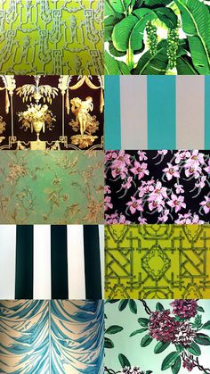 A collection of swatches of wallpaper featured The Greenbrier Hotel, this highlights the eclectic, busy design style of Draper. Known for use of vibrant colours and mis-matching prints, Draper was able to use maximized design features and still create balance, making her design style absolutely iconic.