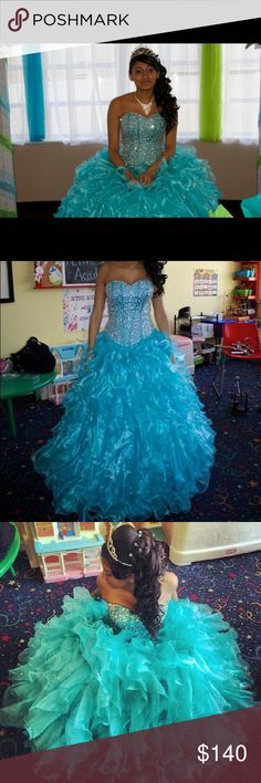 Custom Made Sweet 16/ Prom Dress Strapless, blue dress with silver beaded corset. Dresses Prom