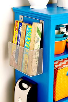 Very often we equate storage with closed doors and drawers, but smaller spaces may necessitate using spots that are in view. Consider grouping same-size items in a decorative storage piece that accents metals or hues in the room. by marcia Diy Kitchen Storage, Door Storage, Bedroom Storage, Wire Storage, Garage Storage, Small Space Storage, Storage Spaces, Clever Diy, Easy Diy
