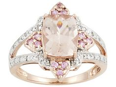 Cor-de-rosa Morganite And Pink Sapphire 3.44ctw With .11ctw Round Diamond 10k Rose Gold Rg