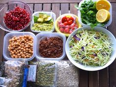 I prepped ingredients for 5 weekday kale salad lunches! Each morning, I plan to mix and match some greens, protein, and fixings into a lunch container and take it to go. My homemade salad bar includes: kale, broccoli slaw, quinoa, chickpeas, seeds (pumpkin and sunflower), walnuts, pomegranate seeds, avocado, cherry tomatoes, and lemons for dressing.