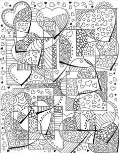 180 Best Hearts Love Coloring Pages For Adults Images In 2019