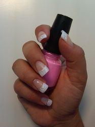 French Glitter Gel  gel nails