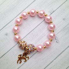 "8 - Unicorn Pink & Gold Bracelet Birthday or Slumber Party Favor 6.25"" Pink Gold Unicorn My Little Pony Birthday Pink and Gold Birthday by…"