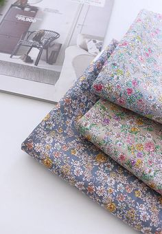 Flowers Cotton Fabric, Floral Fabric - Light Gray, Beige or Indi Blue - 58 Inches Wide - By the Yard 87697
