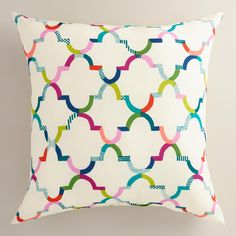 Featuring our vibrant exclusive design, our multicolor lattice throw pillow is made of high-performance fabric for long-term outdoor use. www.worldmarket.com #WorldMarket Outdoor Entertaining